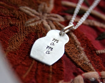 sterling silver matryoshka doll (mama or mom) - necklace