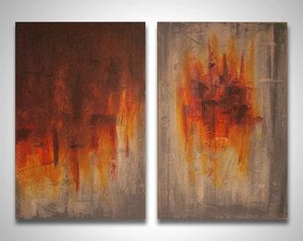 """Large art, Red Yellow and Gray modern abstract painting - Abstract 025 - 24"""" x 36"""" Diptych - Original Oversized Contemporary Painting, decor"""