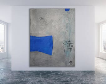 Textured Blue and Grey Abstract Painting / Original Art / Modern Art / Grey and Blue Painting / Texture Painting