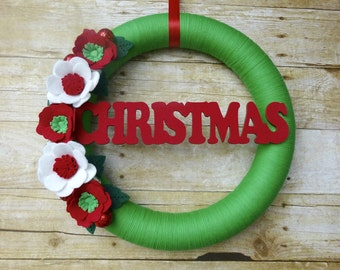 Christmas Felt Wreath, Felt Flower Wreath, Christmas Wreath