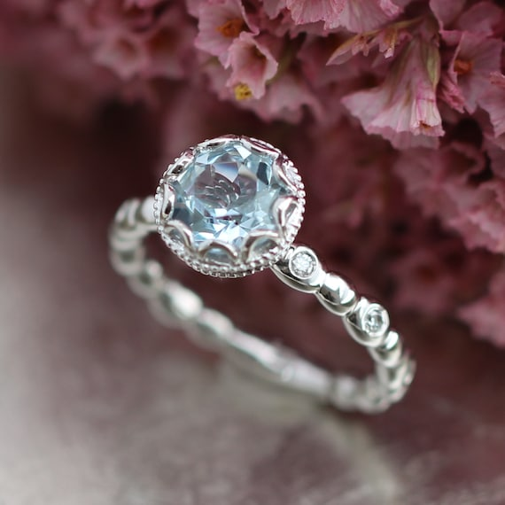 Floral Aquamarine Engagement Ring in 14k White Gold Diamond
