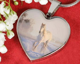 White Horse Luxury Heart Shaped Necklace Silver