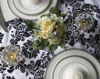Victorian White and Black Flocked Taffeta Damask Table Runner