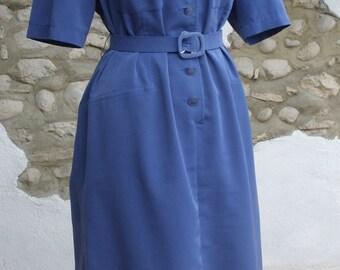 Retro 80s Shirt Dress by Paul Mausner.  French Vintage 1980s Blue Dress size US18 UK20 FR48