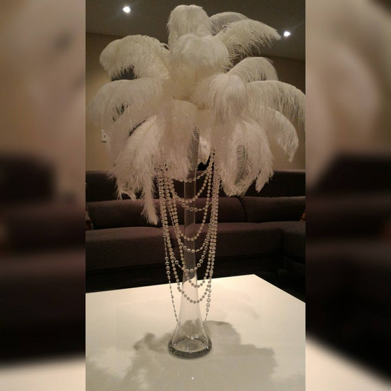 Ostrich Feather Centerpiece With Acrylic And Pearl Garlands