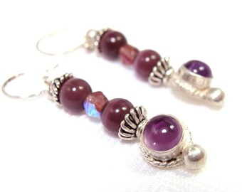 Gabrielle - Amethyst Grape Purple Dangles, Sterling Silver Earrings