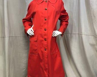 Red Poppy Rain Coat, Misty Harbor Women's Medium 1960s Canvas Button Down Jacket