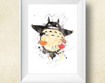 Totoro Poster Watercolor, Totoro Print, Digital Print, Instant Download, Anime Poster, Art, Watercolor Print, My Neighbor Totoro - 5 Sizes