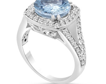 Platinum Aquamarine & Diamond Engagement Ring 2.90 Carat Pave Set Halo HandMade Certified