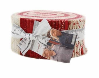 "Farmhouse Reds Jelly Roll by Minick and Simpson for Moda, 40 - 2 1/2"" x 44"" strips"