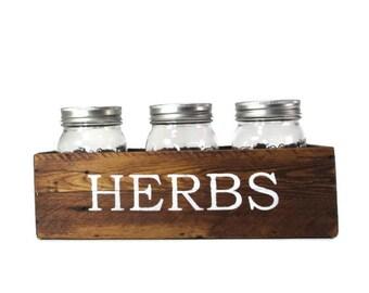 Mason Jar Herb Planter for Indoor Herb Garden - Reclaimed Wood Decor