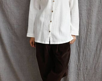Women cotton and linen shirt – Long sleeves cotton and Linen Wrinkled Shirt