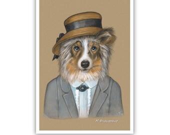 Shetland Sheepdog Art Print - Miss Marble - Detective Art - Retro Dog Costumes - Pet Kingdom by Maria Pishvanova