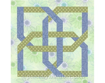 Quatrefoil Knot quilt block, paper pieced quilt block pattern instant download PDF, celtic knot patterns, celtic knot quilt patterns