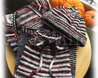 Red Ming Vertebrae Cardigan, Longies and Hat Set on Gaia Worsted Merino & MMR Wool - Size 3-6 Months