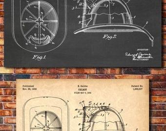Fireman's Helmet Patent Print Art 1932
