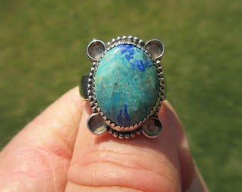 GREEN GLORY GRAB - Sterling Silver Azurite Ring - Size 9 1/2 - Free Resizing