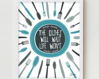 Kitchen Art Print, Kitchen Wall Decor Digital Print, BLUE Typography Kitchen Quote Wall Art, Quote & Digital Illustration for Kitchen