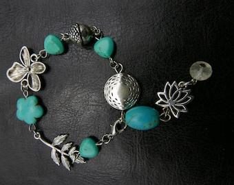 Flower victorian bracelet , green bracelet,  turquoise bracelet jewelry