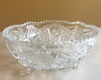 Pretty Vintage Cut Glass Footed Bowl