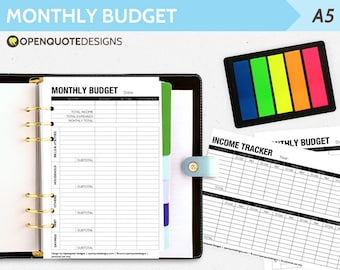Printable Filofax Budget Planner, Monthly Filofax Finance, A5 Printable Household Planner, A5 Filofax Expense Tracker, A5 Filofax Inserts
