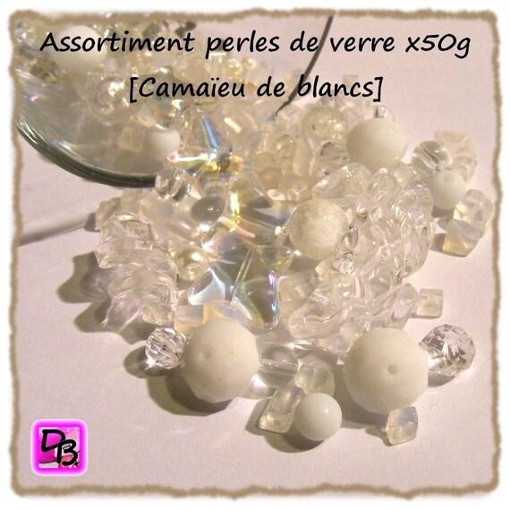 50g de perles de verre [camaïeu blancs]