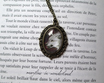 White Wolf glass Cabochon necklace