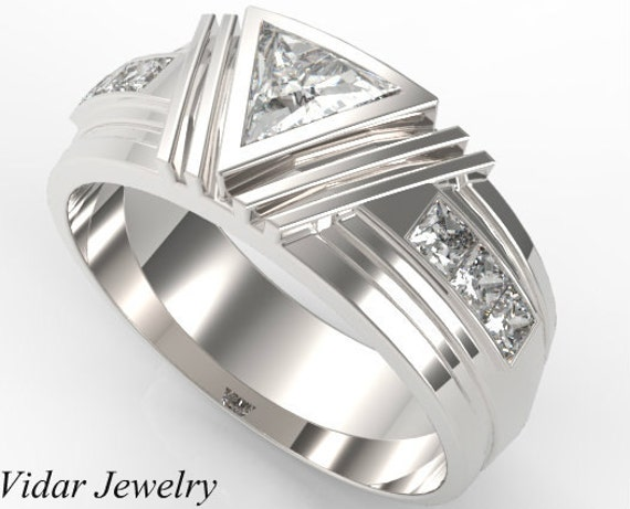 Mens Wedding BandUnique Wedding BandTriangle Diamond