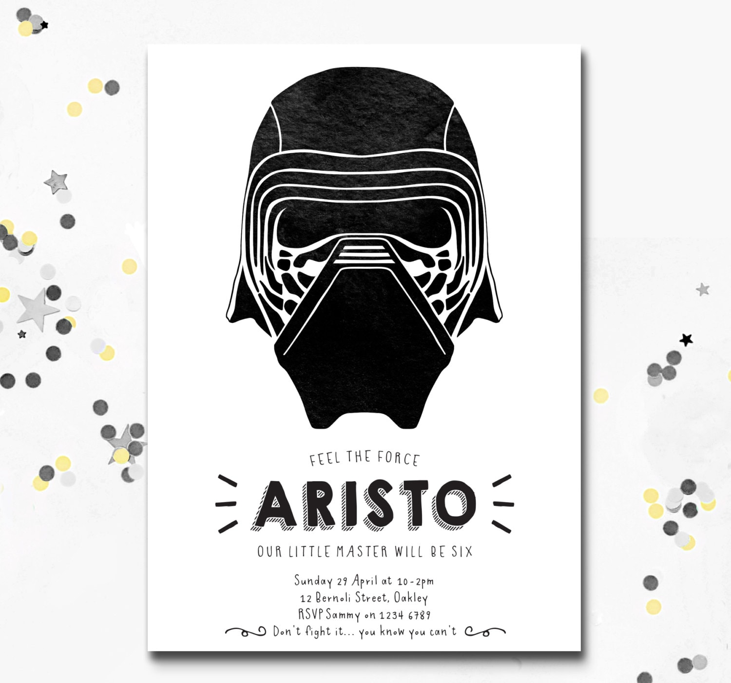 Kylo Ren Invitation Party Invite Star Wars Kylo Ren Birthday