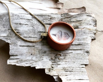Encaustic pendant jewelry. Acorn. Mahogany wood shadow pendant with antique brass loop and chain.