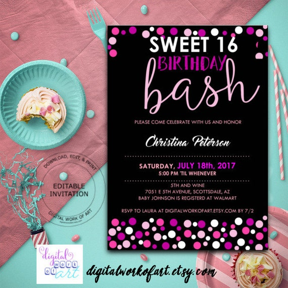 Sweet 16 birthday party invitation template diy editable sweet 16 birthday party invitation template diy editable sweet 16 birthday 16th birthday digital download details card invite polka dots solutioingenieria Images