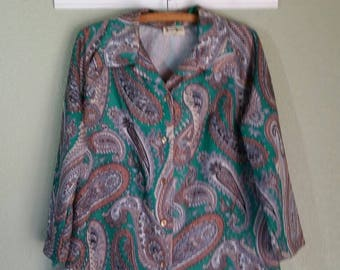 1970s Paisley, Polyester Blouse, by Shaker Sport