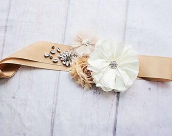Bridal Belt, Rustic Bridal Sash, Maternity Sash, Bridal Belt, Bridesmaid Sashes, Maternity Sash, Flower Girl Sash