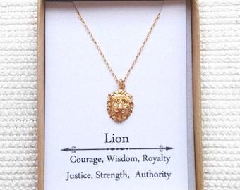 Gold Lion Head Necklaceg, Goldfillled necklace, Gold Lion Necklace, Strength Necklace, Courage Jewelry,  Leo Necklace, Zodiac Necklace