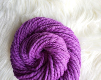 3 oz Handspun 2-Ply Merino Wool Yarn, 50 yds Purple