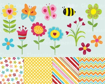Spring Flowers clip art images,  flower clipart, flower vector, royalty free clip art-- Instant Download