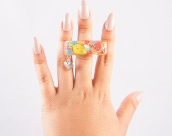 Neon Sequin Filled Resin Ring with Silver Tone Heart Charm