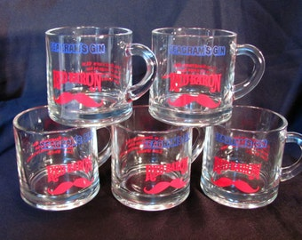 Seagrams Gin RED BARON Glass Cup Mug