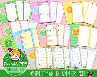 PRINTABLE Personal Size Christmas Holiday Planner Kit Cute Kawaii Kitty Filofax Kikki.K Louis Vuitton Organizer Planner Instant Download