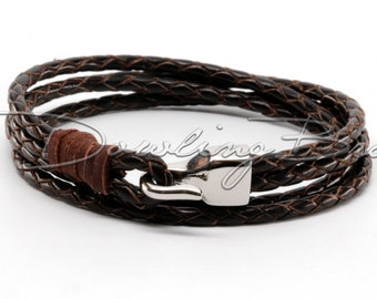 Chocolate Brown Braided Genuine Leather Bracelet with Stainless Steel Hook