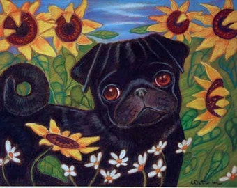 Pug painting art dog sunflowers whimsical ORIGINAL pug Dog art animal pet portrait pugs