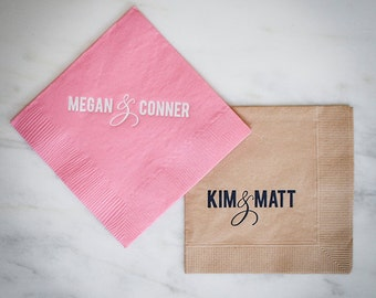 Custom Napkins with Names, Personalized Napkins, Bride and Groom Name Printed Napkins, Wedding Napkins, Rehearsal Dinner Napkins