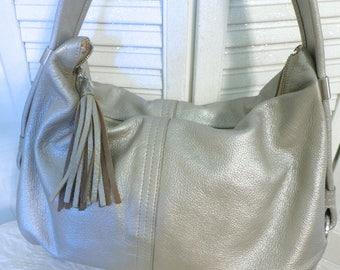 SALE Silver Leather Hobo Purse Elliott Lucca Metallic Shoulder Spring Purse Woven Strap Single Shoulder Strap Designer Hobo Bag