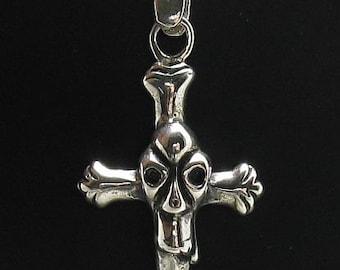 PE000706 Sterling silver pendant  solid 925 skull cross biker