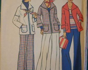 Vintage Simplicity pattern Miss size 10  Jacket and Pants 1976