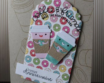 anniversary card, birthday card , happy birthday card , friendship card , card with donuts , card coffee and friends, card for husband