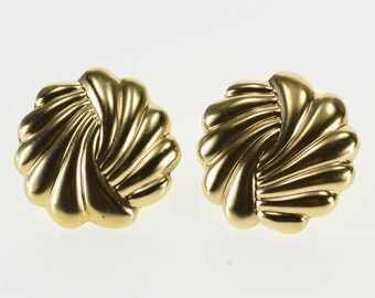 14k Scalloped Twist Round Spiral Post Back Earrings Gold