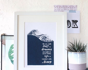 William Shakespeare 'The Tempest' play- hand screenprinted A4 shakespeare literary quote book print