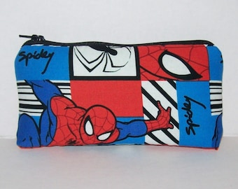 """Pipe Pouch, Spiderman, Pipe Case, Pipe Bag, Glass Pipes, Padded Pipe Pouch, Zipper Bag, Nerd Gifts, Superhero, Smoke Accessory - 5.5"""" SMALL"""