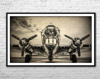 Vintage Air bomber B-17G Miss Angela - Archival Paper and  Canvas Print Air Force Airplane Wall Art Home Decoration Multi panel USAF